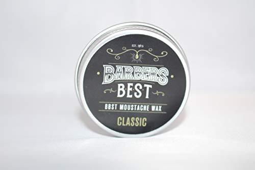 Barbers Best Moustache Wax CLASSIC | Schnurrbartwachs | Bartwichse | Wachs für den Oberlippenbart | Minze-Orange-Duft | mittelfester Halt | Bartpflege Barbershop Qualität
