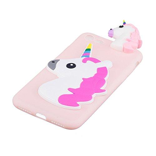 Cover iPhone 7 Custodia iphone 8 Silicone 3D Cartoon Leton Morbido TPU Gel Case per Apple iPhone 7 / 8 (4.7 pollici) Ultra Sottile Flessibile Satinato Gomma Caso Anti Graffio Antiurto Protettiva Bumpe Unicorno Rosa