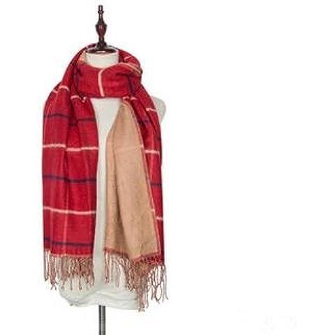 Las mujeres otoño e invierno caliente párrafo largo grueso coreana imitación cachemira bufanda mantón grande doble cara tela escocesa borlas ,