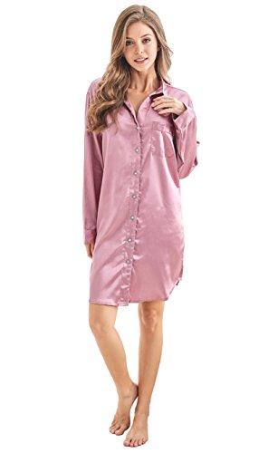 Damen Nachthemd Negligee, Nachtwäsche Nachtkleid, Satin Schlafhemd Schlafanzug, Langarm Sleepwear von Tony & Candice (S=EU (36-38), Licht Burgund) (Nachtwäsche Nachthemd)