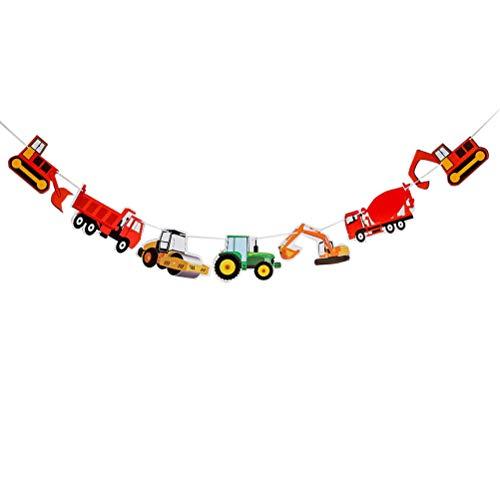 Amosfun Banner Sieben Auto Bagger LKW Papiergirlande für Geburtstag Party Dekoration