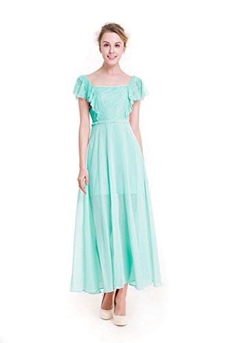Süßer Normallack Volants Chiffon-Kleid,Green-XL