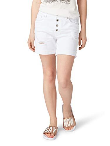 TOM TAILOR Denim für Frauen Jeanshosen Cajsa Shorts White Denim, XS - Five-pocket-stretch-twill