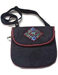 Roots Of Kashmir Blue Leather Side Bag For Women