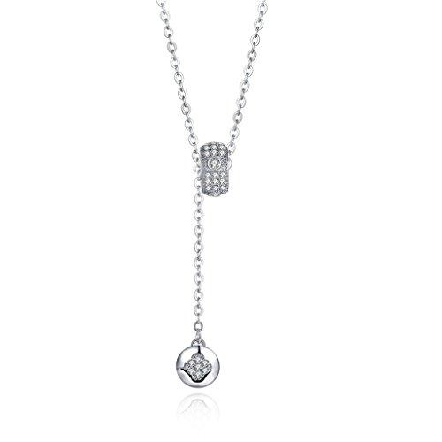 HMILYDYK mujer largo collar de perlas plata de ley 925circonitas cúbicas cadena de cristal colgante collar joyas