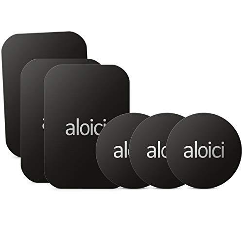 ALOICI Metallplatte 6pcs für Handyhalterung in Auto, Car Mount Zubehör Car 3 Packs Rechteckige Platten + 3 Metall Runde Platten, Schwarz