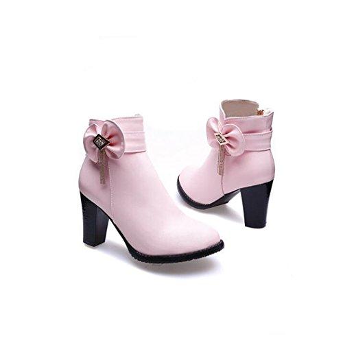 Nouvelles Chaussures a talons hauts avec noeud a deux boucles impermeables tetes rondes mode chaussures decontractees pour femmes bC7LD