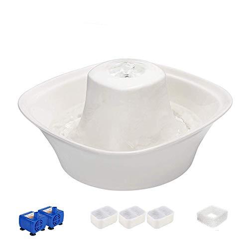iPettie Fontana in Ceramica per Gatti Cani con Un Filtro Distributore Automatico Tranquillo Acqua Animale Fontana 2.1L Pet Water Fountain Drinking Bowl (Vulcano)