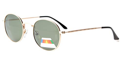 Eyekepper Vintage Style Qualität Runde polarisierten Sonnenbrillen Gold Frame-G15 Lens