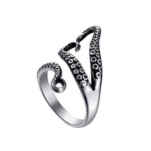 UGUAX Herren Vintage Octopus Sea Monster Squid Punk Antik Ring Tentakel Ringe verstellbar (Sea Kunst Monster)