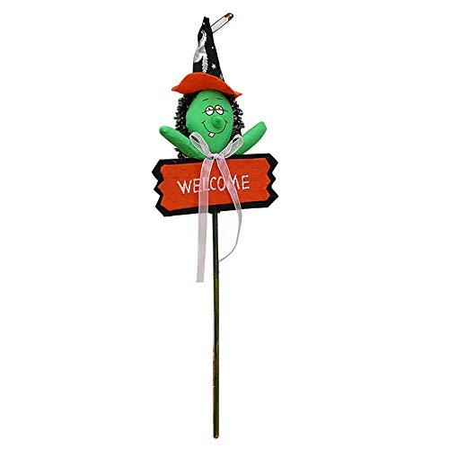 koration Garten,Willkommen Pumpkin Yard Zeichen Halloween Süßes Oder Saures Party Outdoor Dekoration D Holz Kürbis Stake Halloween Zeichen,Grün 15 * 45cm ()