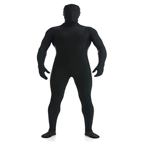 OBEEII Herren Zentai Suit Ganzkörperanzug Lackleder Langarm Catsuit Overall Anzug Bodysuit Männer Ouvert Playsuit Jumpsuit Bodysuit Clubwear Halloween Cosplay Costume Schwarz XL (Schwarzen Bodysuit Die Glänzenden)