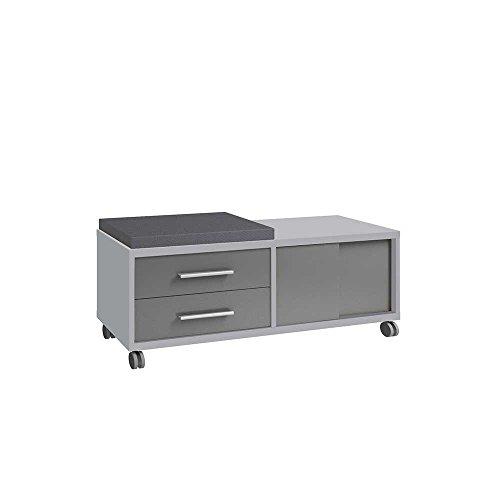 Pharao24 Schreibtisch Rollcontainer in Grau Glas mit Schiebetüren