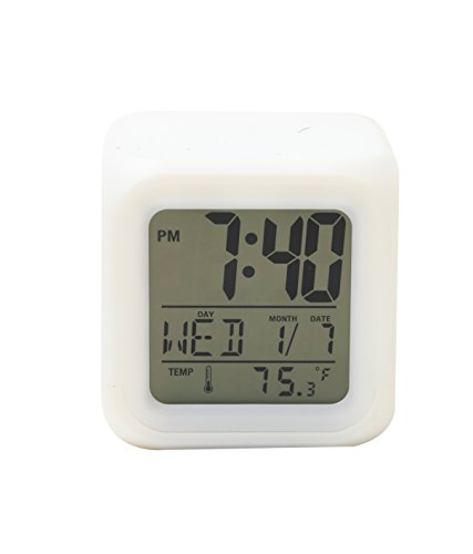 Bazaar Pirates Multicolor Cube LED 7 Color Changing Digital Alarm Clock - With Temperature + Day + Month + Date + Time + Alarm (7.5 Cm x 7.5 Cm)  available at amazon for Rs.350