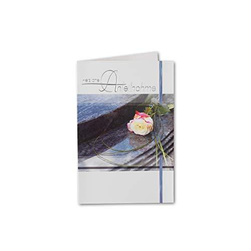 10 Trauerkarte Rose Weiß mit Text - Herzliche Anteilnahme - in Silberfolie - B6 11,5 x 17 cm - Weiss - mit passenden Umschlägen - Gustav Neuser