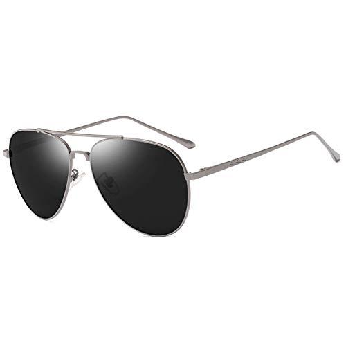 CHKE Outdoor Metall Sonnenbrillen, Military Style Classic Pilot Männer und Frauen Polarisierte Sonnenbrillen Retro Ultraleicht Sonnenbrillen Metall Double Beam Large Frame Mirror,Gray