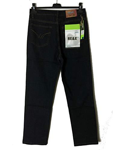 RE&X Pantaloni Jeans da Uomo Lungo E Leggero Colore Nero Blu Vita Alta Comodo (52, Nero)