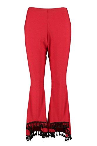 Flamme Rouge Femmes Plus Pantalon Large Orné De Pampilles Flamme Rouge