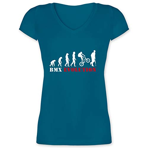 Evolution - BMX Evolution Verletzung - XXL - Türkis - XO1525 - Damen T-Shirt mit V-Ausschnitt