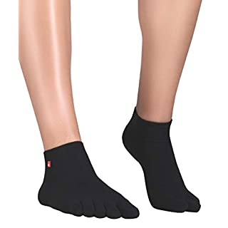 Knitido Zehensocken Track and Trail Ultralite Unisex Sportsocken Herren schwarz und weiß für Sport und als Schutz in Zehenschuhen, Größe:39-42, Farbe:Schwarz