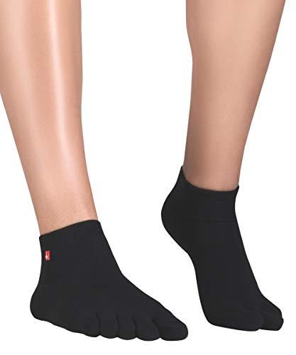 KNITIDO Track & Trail Ultralite Chaussettes à Doigts Basses et Respirantes en Fibre Coolmax®, Pointure:47-50, Couleur:Noir