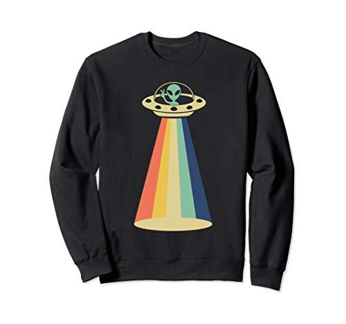 Retro Vintage Alien Peace Sign UFO Abduction Lustiges Alien Sweatshirt -