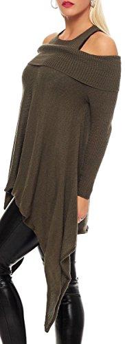 malito Damen Pullover schulterfrei | Oberteil mit Wasserfallschnitt | schickes Sweatshirt | Kostüm 7339 Oliv