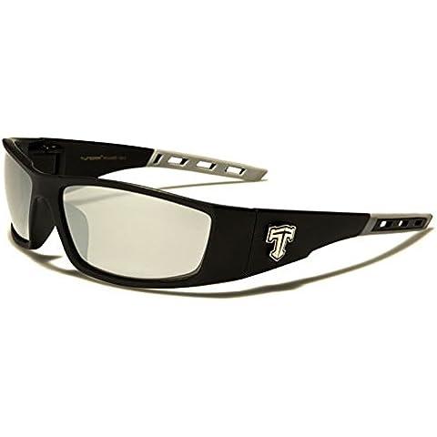 tundra Uomo Rettangolo Wrap occhiali da sole Lenti a Specchio ideale per sport con sci ciclismo Running Free beachhutsunglasses Astuccio