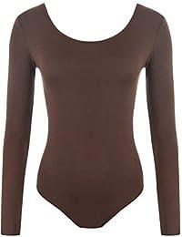 Red Olives® Womens Ladies Plain Long Sleeve Scoop Neck Leotard Top Bodysuit  UK 8- 261915842
