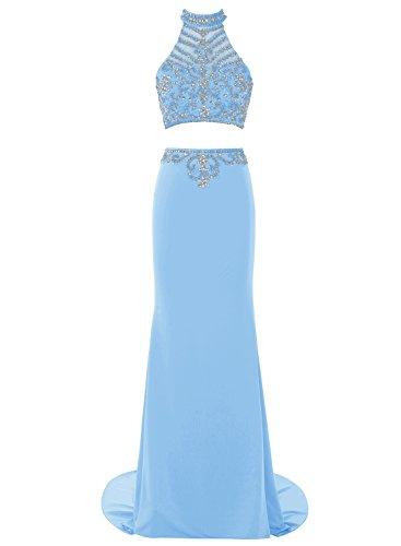 Bbonlinedress Robe de cérémonie et de soirée à traîne col roulé emperlée florale deux pièces en mousseline Bleu