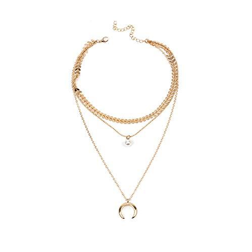 ITVIP Retro Stile Nazionale personalità Esagerazione Collana Lega Mezzaluna Flash Diamante Multilayer Collana (Oro)