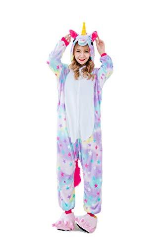 Hycomell Damen Schlafanzug Einhorn Onesie Weich Flanell Anime Cartoon Stil Jumpsuit Schlafanzug Einhorn Kostm für Cosplay Fasching Halloween Performance (Erwachsene Für Halloween-kostüme Primark)