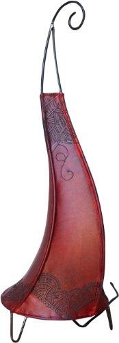Guru-Shop Henna - Leder Tischlampe/Tischleuchte Alban, Rot, Farbe: Rot, 70x22x22 cm, Orientalisches Kunsthandwerk (Henna Kommen)