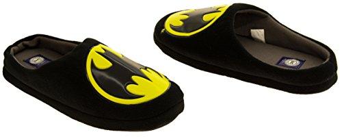 Hombre Batman Textil Fleece Mule Zapatillas Negro