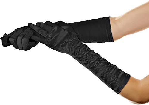 Jahre Kostüm Kind 50er - Balinco Lange Glamour Handschuhe in den Farben schwarz, weiß & rot zum 20er Jahre Damen Charleston Kostüm (Schwarz)