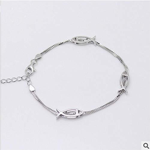 Dixinla Armband,925 Sterling Silber Kleine Fische Skelett Armband Ornament Female Mädchen großes Geschenk