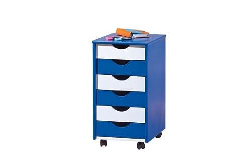 Links 40100660 Beppo Caisson sur roulettes 6 tiroirs bleu/blanc 36