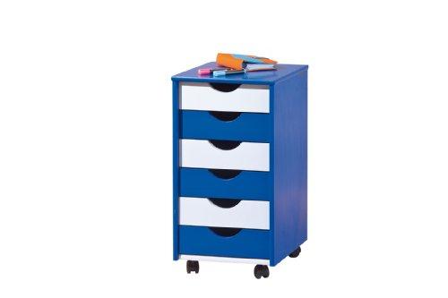Links color a5 - cassettiera. dim: 36x40x65 h cm. col: bianco, blu. mat: mdf.