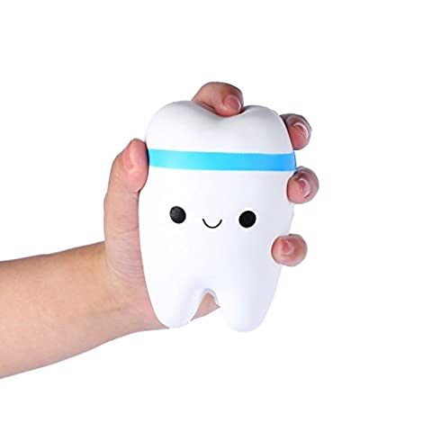 Squishy Teeth Toy, Chickwin Kawaii Teeth Slow Rising Cute Squeeze Stress Relief Toy (Blue)