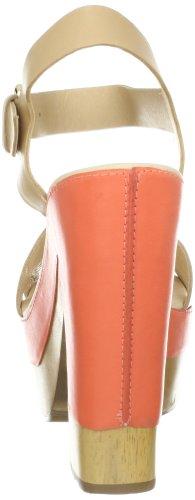 Diane Von Furstenberg Roxana Femmes Cuir Sandales Compensés Nude-Peach Nectar