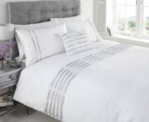 Aurea Diamante Ruffle Pleat Faux Silk Double Duvet Cover Quilt Bedding Set White - inexpensive UK bedding store.