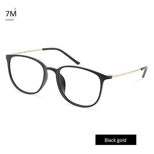 Anti-Blaulicht-Brille Ultraleichte Anti-Strahlungs-Brille für Handys mit flachem Spiegel Schwarzgold + flaches Licht Anti-Blaulicht