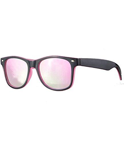 Caripe Kinder Mädchen Jungen Sonnenbrille Retro Design verspiegelt + getönt - barna (One Size, schwarz-rosa - neon-rosa verspiegelt-two)