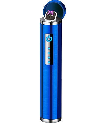 Auratrio Y14 USB Plasma Feuerzeug Arc Lighter aufladbar Touchscreen elektronisch, Windundurchlässiges Flamess Lichtbogen für Küche, Grill, Kerzen und Zigaretten (Gebürstet-Blau)