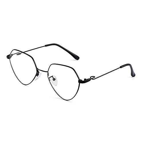 Mode Herz RX-fähig Brillen Metall Draht Optische Gläser Rahmen für Damen Schwarz