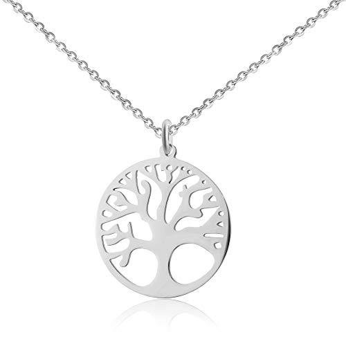 Good.Designs Collar de Moda para Damas con el árbol de la Vida de Plata o de aleación de Cobre bañado en Oro Colgante (Recubrimiento de Plata)