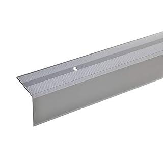 acerto 51070 Aluminium Treppenwinkel-Profil - 100cm, 42x40mm, silber * Rutschhemmend * Robust * Leichte Montage | Treppenkanten-Profil, Treppenstufen-Profil aus Alu | Gelochtes Stufenkanten-Profil
