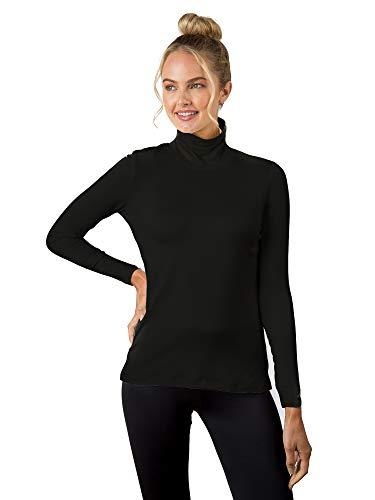 A'NUE LIGNE A'nue Miami Damen Classic Rollkragenshirt Langarm Basic Shirt - Schwarz - Klein (Yoga Anue)