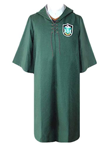 Monissy Unisex Harry Umhang Kinder Erwachsene Robe mit Kapuze Gryffindor Slytherin School Quidditch Costume Cosplay Kostüm Set Harry Weste Halloween Fasching Karneval Party Cosplay Kostüm (Harry Potter Kostüm Ohne Robe)