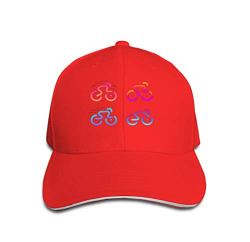 zexuandiy Baseball Cap Adjustable Athletic Custom Trendy Hat for Men and Women Bike Logos Cycle linear icon Set Road Bicycle Races modern Logo red -